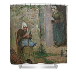 Charity Shower Curtain by Camille Pissarro