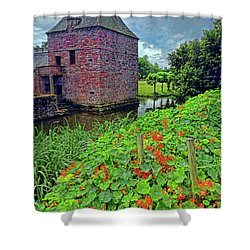 Shower Curtain featuring the photograph Chateau Tower And Nasturtiums by Dave Mills
