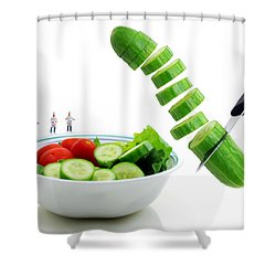 Chefs Making Salad Shower Curtain by Paul Ge