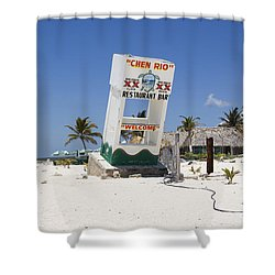 Shower Curtain featuring the photograph Chen Rio Beach Bar Cozumel Mexico by Shawn O'Brien
