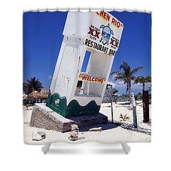 Shower Curtain featuring the photograph Chen Rio Beach Bar Sign Cozumel Mexico by Shawn O'Brien
