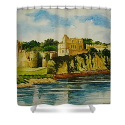 Chepstow Castle  Wales Shower Curtain by Andrew Read