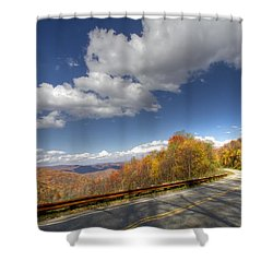 Cherohala Skyway Shower Curtain by Debra and Dave Vanderlaan