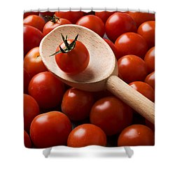 Cherry Tomatoes And Wooden Spoon Shower Curtain by Garry Gay