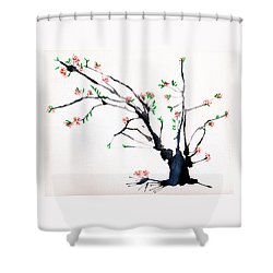 Cherry Tree By Straw Shower Curtain