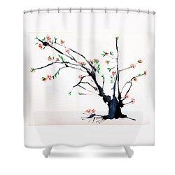Cherry Tree By Straw Shower Curtain by Helaine Cummins