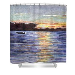 Shower Curtain featuring the painting Chesapeake Dusk Boat Ride by Clara Sue Beym