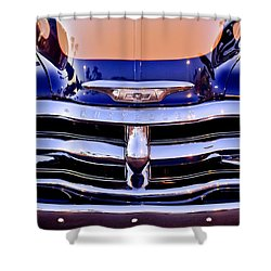 Chevrolet Pickup Truck Grille Emblem Shower Curtain by Jill Reger