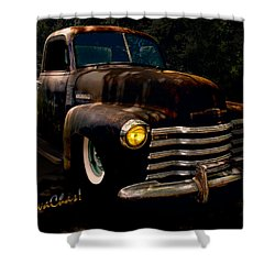 Chevy Hot Rat Rod Pickup Cowgirl's Last Stand Shower Curtain