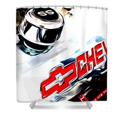 Shower Curtain featuring the digital art Chevy Power by Tony Cooper