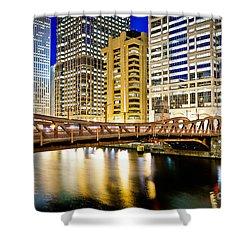 Chicago At Night At Clark Street Bridge Shower Curtain by Paul Velgos