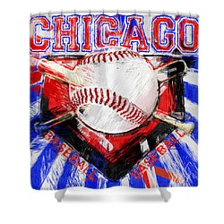 Chicago Baseball Abstract Shower Curtain by David G Paul
