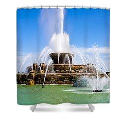 Chicago Buckingham Fountain Shower Curtain by Paul Velgos