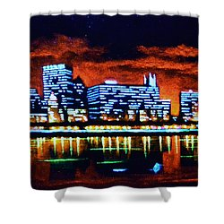 Chicago By Black Light Shower Curtain