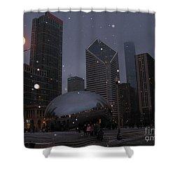 Chicago Cloud Gate At Night Shower Curtain by Ausra Huntington nee Paulauskaite
