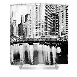 Chicago Downtown At Clark Street Bridge Shower Curtain by Paul Velgos