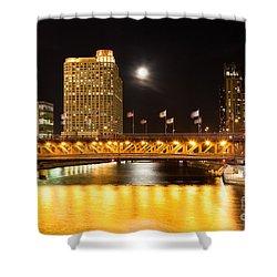 Chicago Michigan Avenue Dusable Bridge At Night Shower Curtain by Paul Velgos