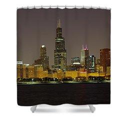 Chicago Night Skyline Shower Curtain