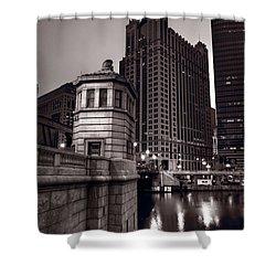 Chicago River Bridgehouse Shower Curtain by Steve Gadomski