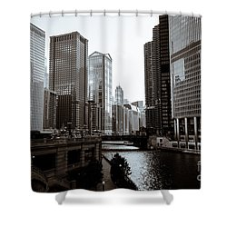 Chicago River Downtown Buildings In Black And White Shower Curtain by Paul Velgos