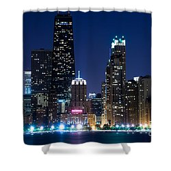 Chicago Skyline At Night With John Hancock Building Shower Curtain by Paul Velgos
