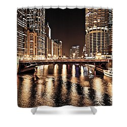 Chicago Skyline At State Street Bridge Shower Curtain by Paul Velgos
