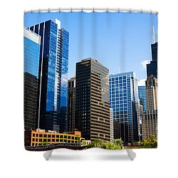 Chicago Skyline Downtown City Buildings Shower Curtain by Paul Velgos