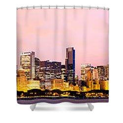 Chicago Skyline Panoramic Shower Curtain by Paul Velgos
