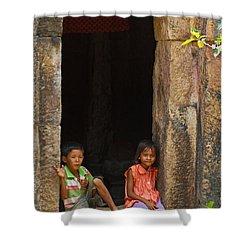 Children In The Doorway. Shower Curtain by David Freuthal