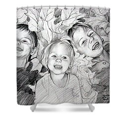 Children Playing In The Fallen Leaves Shower Curtain