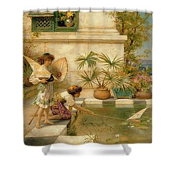 Children Playing With Boats Shower Curtain by William Stephen Coleman