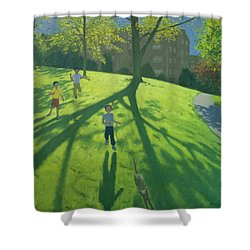 Children Running In The Park Shower Curtain by Andrew Macara
