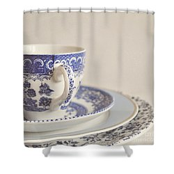 China Cup And Plates Shower Curtain by Lyn Randle