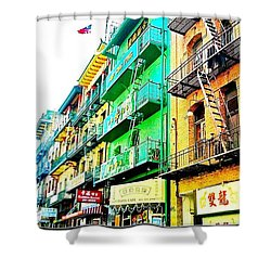 Chinatown View From The Streetcar - San Francisco Ca Shower Curtain by Anna Porter