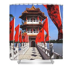 Chinese Gardens  North Pagoda 19c Shower Curtain by Gerry Gantt