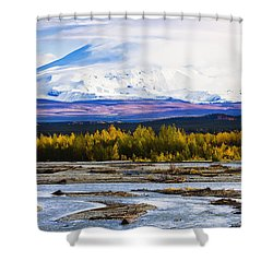 Chistochina River And Mount Sanford Shower Curtain by Yves Marcoux
