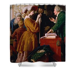 Choosing The Wedding Gown From Chapter 1 Of 'the Vicar Of Wakefield' Shower Curtain by William Mulready