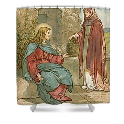 Christ And The Woman Of Samaria Shower Curtain by John Lawson