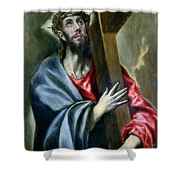 Christ Clasping The Cross Shower Curtain by El Greco