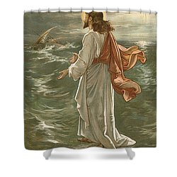 Christ Walking On The Waters Shower Curtain by John Lawson