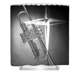 Christian Cross On Trumpet Shower Curtain