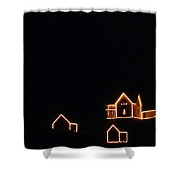 Christmas At The Nubble Shower Curtain by Skip Willits