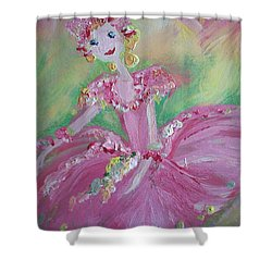 Shower Curtain featuring the painting Christmas Ballerina by Judith Desrosiers