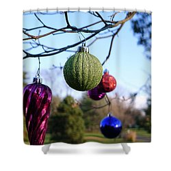 Christmas Baubles Shower Curtain by Richard Reeve