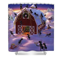 Christmas Decorator Ants Shower Curtain