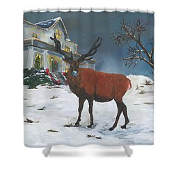 Christmas Elk Shower Curtain