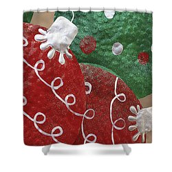 Shower Curtain featuring the photograph Christmas Ornaments by Patrice Zinck