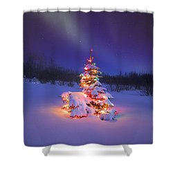 Christmas Tree Glowing Under The Shower Curtain by Carson Ganci