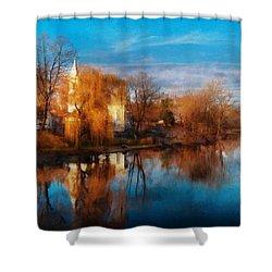 Church - Clinton Nj - Clinton United Methodist Church Shower Curtain by Mike Savad