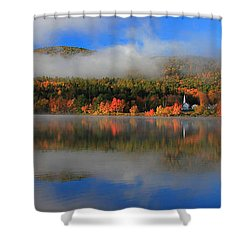 Church Across The Lake-panoramic Shower Curtain
